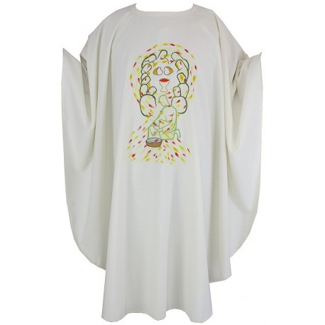 Chasuble brodée et peinte à la main en laine et polyester